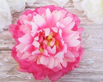 Pink Peony Hair Clip, Shabby Chic Hair Flower, Peony Hair Clip, Bright Pink Flower