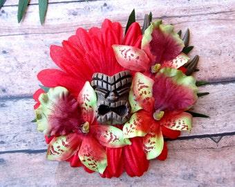 Red Aloha Tiki Hair Clip-Tropical Hair Clip, Pinup Hair Clip