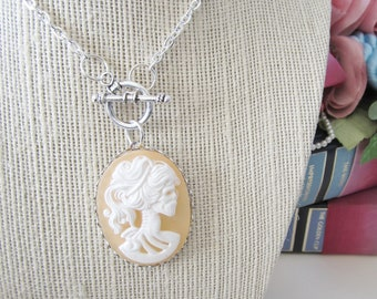 Peach Victorian Skull Cameo Necklace, Zombie, Lady Skeleton Necklace, Cameo Jewlery, Day of the Dead