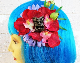 "Tiki Hair Clip,Tropical Hair Clip, Tropical Flowers, Beach Weddings, Hawaiian Hair Clip, Odd Rodney Tiki, Luau Party ""Pua"""