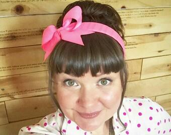 Neon Pink Bow Headband- Alice