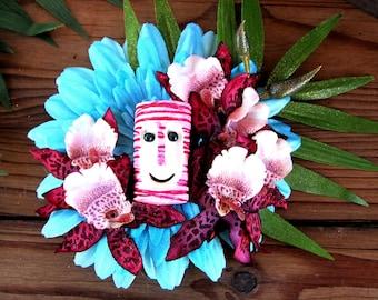 Teal Island Tiki Hair Clip-Tropical Hair Clip, Pink Pinup Hair Clip, Beach Hair, Tiki Bob
