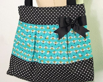 Bumble Bee Purse Handbag, Bee Tote, Cotton Fabric Bag, Purse with Pockets-  READY TO SHIP