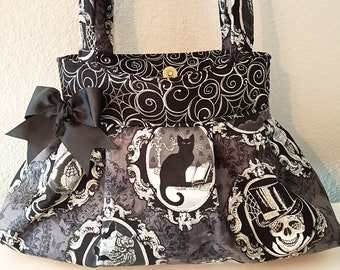 Halloween Fabric Purse, Gothic, Witch,Black Cat, Spooky Purse, Halloween Purse Handbag, Spider Webs