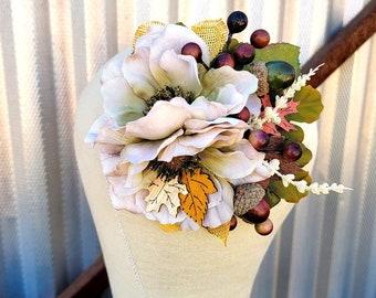 Fall Harvest Green Floral Fascinator, Acorn Boho Hair Flowers, Pinup