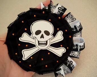 Skull and Crossbones Hair Clip, Halloween Hair Flower -READY to SHIP