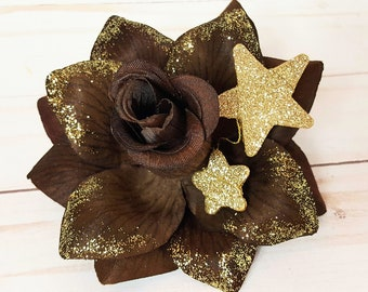 Star Hair Clip, Celestial Fascinator,  Pinup Accessory, Assorted Star Rose Floral Clip  -Assorted Golden Starlight Rose Hair Clip