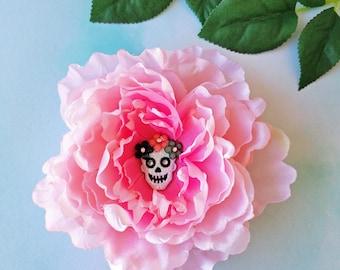 Pink Sugar Skull Hair Clip, Peony Hair Flower