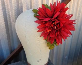 Burnt Orange Fall Floral Hair Clip, Rustic Flower, Rust Flower Hair Clip