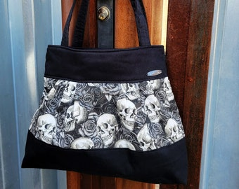 Skulls and Roses Handbag Tote , Skulls Fabric Purse with Pockets, Gothic, Gift for Her