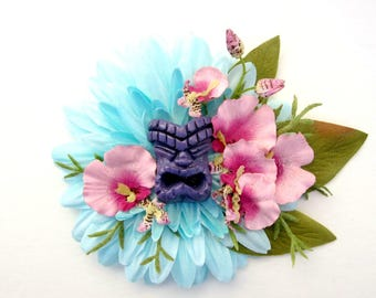 Tiki Hair Clip, Teal and Purple Tiki Hair Clip, Tropical, Pinup, Beach Hair, Tropical Wedding Accessorie, Hawaiian, Island Wedding
