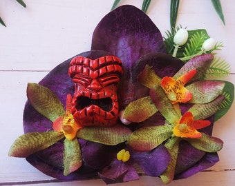 Purple Orchid Tiki Hair Clip, Odd Rodney, Tiki Flower, Orchid Hair Flower, Tropical Wedding