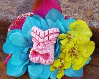 Tiki Flower, Orchid Hair Flower, Beach Wedding, Hawaiian, Fascinator, Pinup Rockabilly,Purple Orchid Tiki Floral Clip