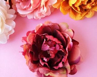 Mauve Pink Peony Hair Clip, Fall Hair Flower, Bridal Floral, Boho Wedding