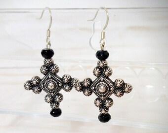 Gothic Cross Earrings, Ornate Cross Dangle Earring, Silver Cross Jewelry, Halloween Costume