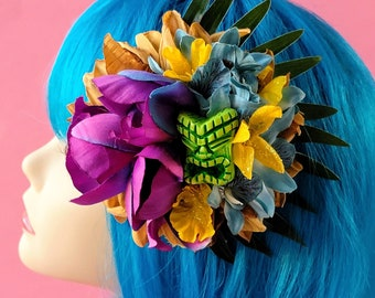 Tiki Fascinator, Tropical Hair Clip, Odd Rodney Tiki, Beach Hair,  Pinup Flower, Oasis