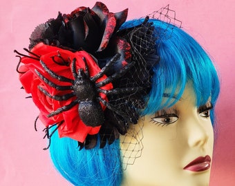 Black Widow and Rose Fascinator, Halloween Gothic Headpiece, Spooky Hair Clip