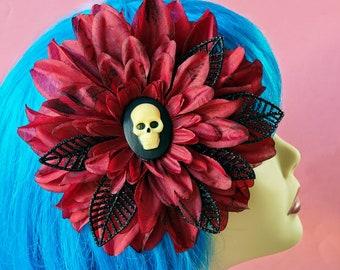 Burgundy Black Skull Dahlia Hair Clip, Gothic Hair Flower, Psychobilly, Rockabilly