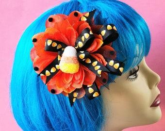 Candy Corn Hair Clip, Fall Harvest Hair Clip, Orange Hair Flower