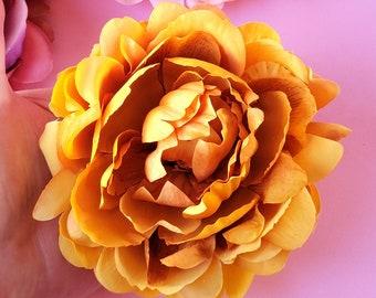 Sun Gold Peony Hair Clip, Fall Hair Flower, Bridal Floral, Boho Wedding