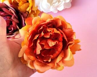 Pumpkin Spice Peony Hair Clip, Fall Hair Flower, Bridal Floral, Boho Wedding