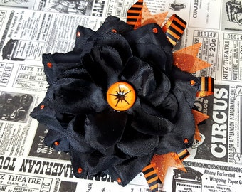 Halloween Hair Clip, Black and Orange Hair Flower, Black Rose Hair Accessorie, Pinup, Rockabilly - Atomic Halloween Hair CLip
