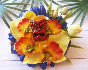 Royale Blue Tiki Hair Clip-Tropical Hair Flower Clip