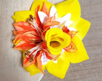 Yellow Pinup Rose Hair Clip, Tiki, Summer Tropical Accessory, Floral Clip READY TO SHIP -Yellow Island Tiki Clip