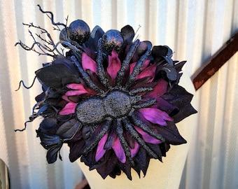 Spooky Black & Purple Spider Fascinator, Halloween Gothic Headpiece, Spooky Hair Clip