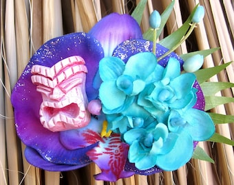 Pink and Purple Tiki Hair Clip, Odd Rodney, Tiki Flower, Orchid Hair Flower, Tropical Wedding, Purple Orchid
