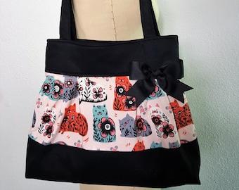 Cat Purse Handbag, Kitties Kitten, Cat Fabric Purse, Cat Lover Gift -Pretty Kitty Purse