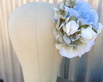 Falls Something Blue Floral Fascinator,  Wedding Bridal Flowers , Pinup Rockabilly