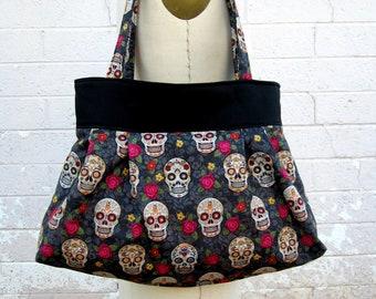 Sugar Skull Purse Handbag Diaper Bag , Day of the Dead Fabric Purse, Dia De Los Muertos, Calavera Tote