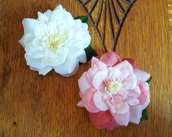 Rose Hair Clip, Rose Floral Hair Flower, Pinup Accessorie, Bridal Wedding- Shimmer Sherry