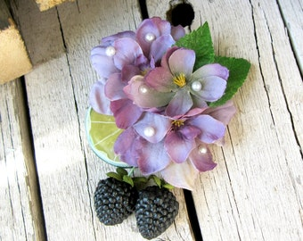 Lime Berry Blossom Fascinator, Lilac Floral Fruit Accessory, Fruit Hair Clip, Retro hair, Blackberries, Blackberry Accessorie