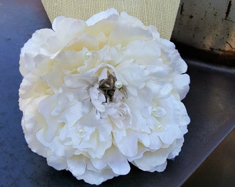 Ivory Hair Flower Clip, Ivory Peony Clip, Pinup Hair Flower, Wedding- Ivory and Pearls Peony Hair Clip