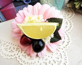 Margarita Fruit Hair Clip, Lime and Cherry Hair Clip, Fruit Hair Clip, Retro hair