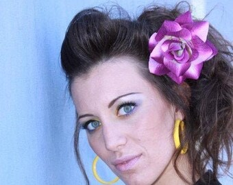Puprle and Ivory Rose Hair Clip, Pinup Rockabilly, Purple Flower