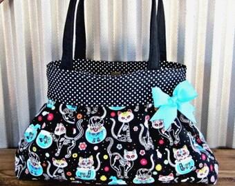 Sugar Skull Cat Handbag, Day of the Dead Purse, Day of the Dead Diaper Bag, Cat Sugar Skull Purse, Cat Lover