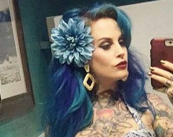 Blue Hair Flower Clip, Dahlia Hair Clip, Pinup, Rockabilly -Steel Blue Dahlia