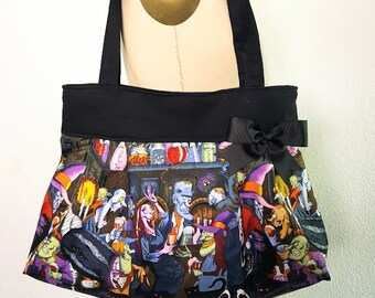 Monster Party Purse Handbag, Unhappy Hour Ghouls Halloween Handbag, Fabric Purse with Pockets