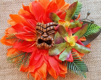 Orange Tropical Tiki Hair Clip-Tropical Hair Clip, Pinup Hair Clip- Sunrise Tropical