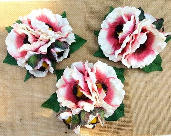Poppy Hair Flower, Dusty Pink Flower Hair Clip, Pinup Hair Clips, 1940s 1950s, Floral Fascinator, Poppies, Wedding- Dusty Pink Poppy Buds