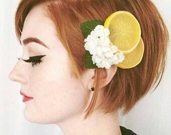Lemon Blosson Fascinator, Lemon Slices Hair Clip, Fruit Hair Clip, Lemon Hair Clip, Retro hair Clip