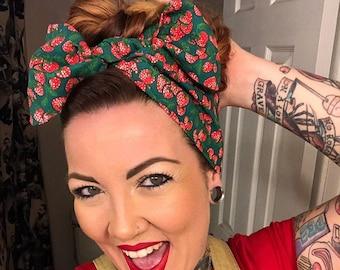 Vintage Strawberry Bandana, Strawberries Headwrap, Fruit Headband, Top Knot, Large Bow Rockabilly Pinup