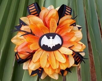 Halloween Bat Hair Clip- Orange and Black Hair Accessorie, Halloween Accessorie, Orange Hair Flower