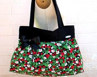 """Strawberry Purse Handbag  Novelty Print Tote Fruit Shoulder bag-""""Strawberry Blossom"""""""