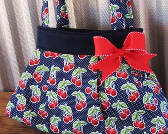 Cherry Purse ,Navy Cherry Polka Dot Purse, Navy Cherry Handbag, Rockabilly Purse