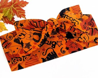 Halloween Graffiti Bow Bandana, Rockabilly Headwrap,  Witchy Fabric Bandana, Halloween Top Knot