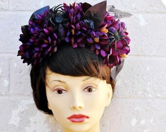 Dia De Los Muertos Headband, Skull Flower Crown Headband, Flower Crown, Day of the Dead Headband, Halloween Headband, Spooky Hair